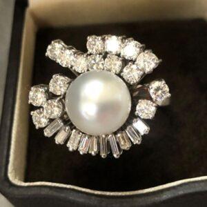 Joyeria Madrid Sortija brillantes perla australiana